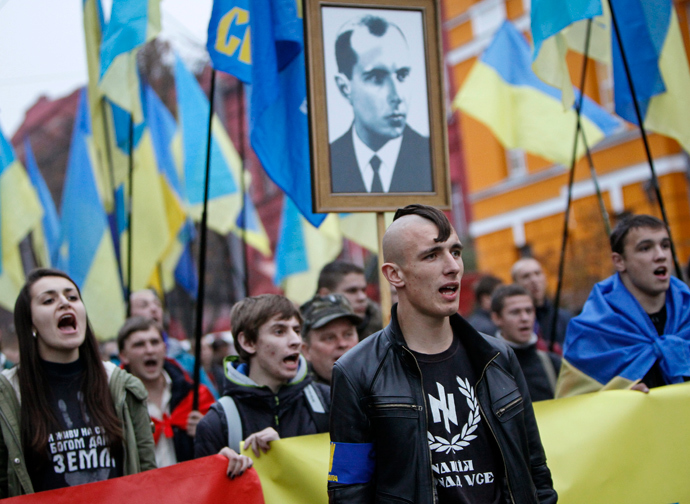 Neo-Nazi Svoboda Party; they & other fascist groups have been at the heart of opposition protests backed by the EU & USA.